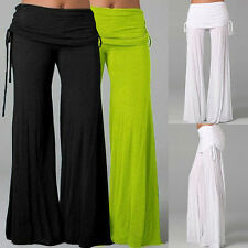 1x Pants Women High Waist Wide Yoga Gym Sport Pants Palazzo Flared Trouser