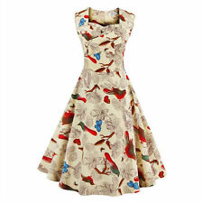 Vintage Women Floral Print Sleeveless Evening Party Cocktail Mini Dress Casual