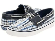 SPERRY TopSider Bahama Navy Seersucker Plaid 2 eye Boat shoes NIB Size 7.5 or 8m