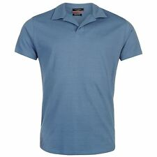 Pierre Cardin Open Neck Polo Shirt Mens Denim Collar T-Shirt Top Tee Casual Wear