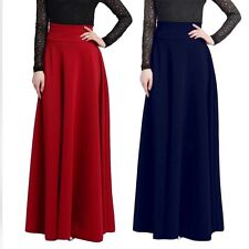 Women's Retro High Waist Maxi Skirts Gypsy Stretch Full Length Dresses Plus Size
