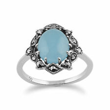 925 Sterling Silver Art Nouveau Blue Jade & Marcasite Ring