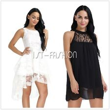 Women's Summer Lace Mesh Chiffon Party Evening Cocktail Short Skater Mini Dress