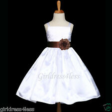 WHITE/BROWN CHOCOLATE WEDDING PAGEANT FLOWER GIRL DRESS 12M 18M 2 4 6 8 10 12