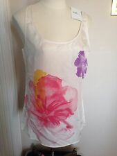 NWT $39 New York & Company Ivory Floral 100% Silk Career Tank Top  S  Small