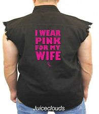 Breast Cancer Sleeveless Denim Vest I Wear Pink For My Wife Ribbon Support Biker