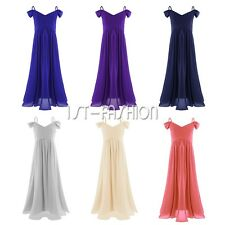 Girl Flower Dress Chiffon Princess Formal Pageant Wedding Bridesmaid Graduation
