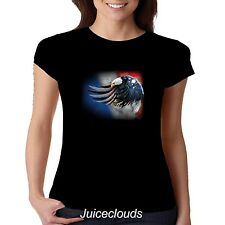 Patriotic Fitted Shirt Flying American Eagle USA Flag Tee Pride July 4th JUNIORS