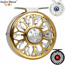 3/4 5/6 7/8WT Fly Reel CNC Machined Aluminum Large Arbor Gold Fly Fishing Reel