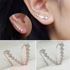1Pair Fashion Silver/Gold Plated Crystal Rhinestone Stud Earrings Jewelry Gift