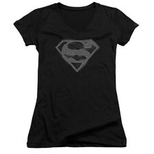 Superman CHAIN LINK Shield Licensed Juniors V-Neck Tee Shirt