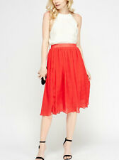 BNWT*18*Ladies RED * PLEATED * BELTED *LINED* elasticated waist * MIDI Skirt
