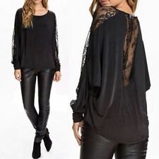Women Lace Splice Blouse Shirt O-neck Long Batwing Sleeve Top Plus Size