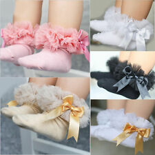 0-6Y Baby Kids Girls Todders Lace Bowknot Ruffle Frilly Trim Cotton Ankle Socks