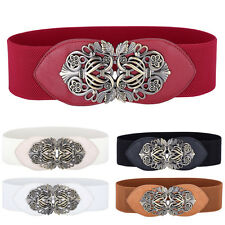 Vintage Metal Flower Elastic Stretch Buckle Waistband Women Waist Belt For Dress