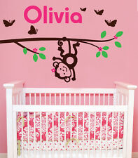 Personalised name, Monkey, Branch removable wall stickers for Nursery/kids room