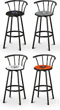 "29"" TALL SPORTS TEAM LOGO THEMED BLACK FINISH METAL SWIVEL SEAT BAR STOOLS"