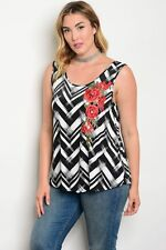 Women Plus Size Sleeveless Black Floral Red Stretch Fit Top Blouse Shirt Casual