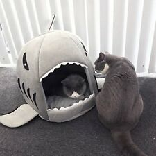 Teddy Pet Dog Cat Bed Cushion Cute Shark Mouth Warm Soft Pet House Sleeping Bed
