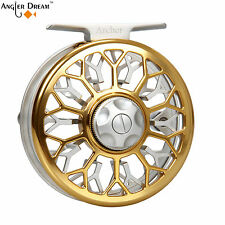 3/4 5/6 7/8WT Large Arbor Fly Reel CNC Machined Aluminum Gold Fly Fishing Reel
