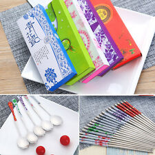 Portable Chopsticks and Spoon Set Stainless Steel Tableware With Box Gifts UK