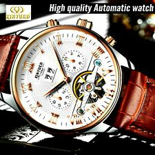 Mens leather automatic watch KINYUED Skeleton Tourbillon Mechanical self wind