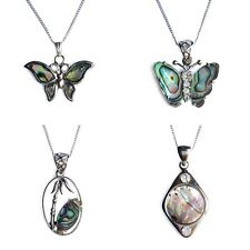 Natural Paua Shell Charm Pendant Necklace Abalone Butterfly Palm Tree Round