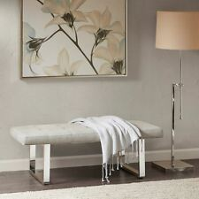 Deluxe Almond & Silver Tufted Cushion Flannigan Bench w/Steel Legs