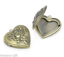 Wholesale Lots Gift Bronze Tone Heart Locket Photo Frame Settings 29x29mm