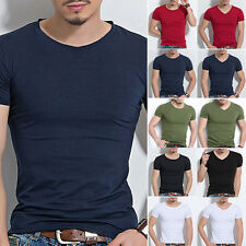 Mens Slim Fit Cotton M~3XL Tops T-Shirt Short Sleeve Casual Business Tee Shirts