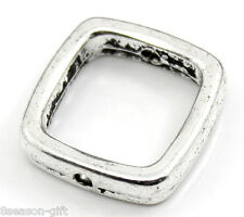 Gift Wholesale Silver Tone Square Spacer Beads Frame 14x14mm Fits 10mm Beads