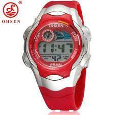 OHSEN 7 Colors LED Backlight Alarm Date Stopwatch Red Jelly Silicone Wristwatch
