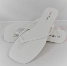 Ladies White Summer Flip Flop Wedding Sandal Womans Rose Coast Thong Strap Shoe