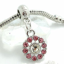 Pink 1pcs Silver CZ European Charm Beads Fit 925 Necklace Bracelet Pendant DIY
