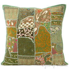 "20"" Green Patchwork Sofa Throw Pillow Cushion Cover Couch Boho Indian Bohemian"