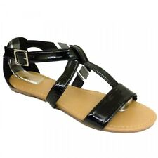 Ladies Flat Black Gladiator Summer Sandals Flipflops - Brand New