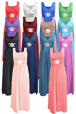 Womens Ladies Sleeveless Long Length Buckle Maxi Evening Prom Party Dress ■