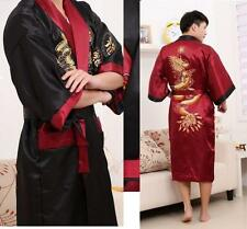 men's Oriental Men bathrobe Kimono Embroidery Dragon Sleepwear Gown Bath Robe