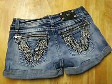 Miss Me Cuffed Denim Jean Shorts Size 29 sequin studded. Wings. Distressed.EUC