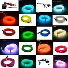 LED Light Glow El Wire String Strip Rope Car Dance Party + 3V 12V USB Controller