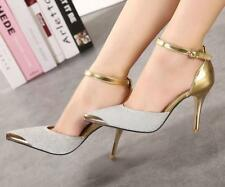 Thin High Heels Women Pumps Sexy Glittery Leather Bright Mental Gold pointed Toe