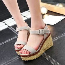 Women Open Toe Wedge Heels Slingbacks Buckle Strappy Sandals Collegiate Shoes Sz
