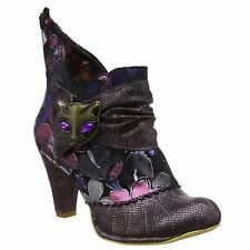 Irregular Choice Miaow Purple Floral Womens Ankle Boots