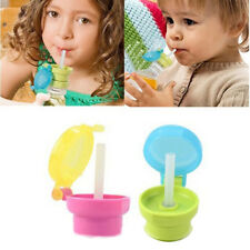 kid children portable spill proof cup cover Drinking Tube Bottle Cap Straw Cover