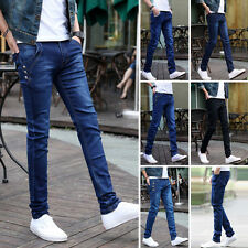Men Casual Slim Washed Denim Jeans Long Straight Skinny Pants Pencil Trousers