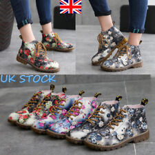 UK Lady Women Lace Up Martin Ankle Boot Floral Low Block Heel Retro Chunky Shoes