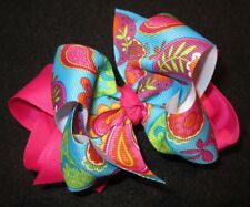 Pink Paisley Boutique Hair Bow Girls Big Double Layer Hairbow Pageant Party Baby