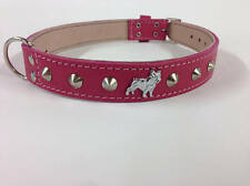 Beautiful Leather Dog Collar With Miniature French Bulldog Motif And Studs