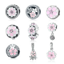 1pcs flower Silver CZ European Charm Beads Fit 925 Necklace Bracelet Pendant DIY