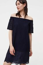 NWT ANN TAYLOR LOFT Forever Navy Floral Lace Off The Shoulder Dress Size L